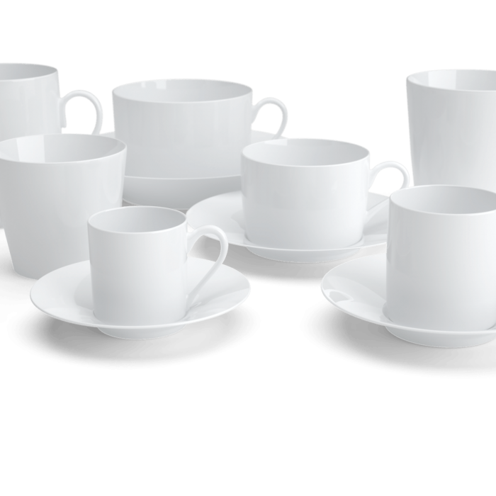 The cups and saucers